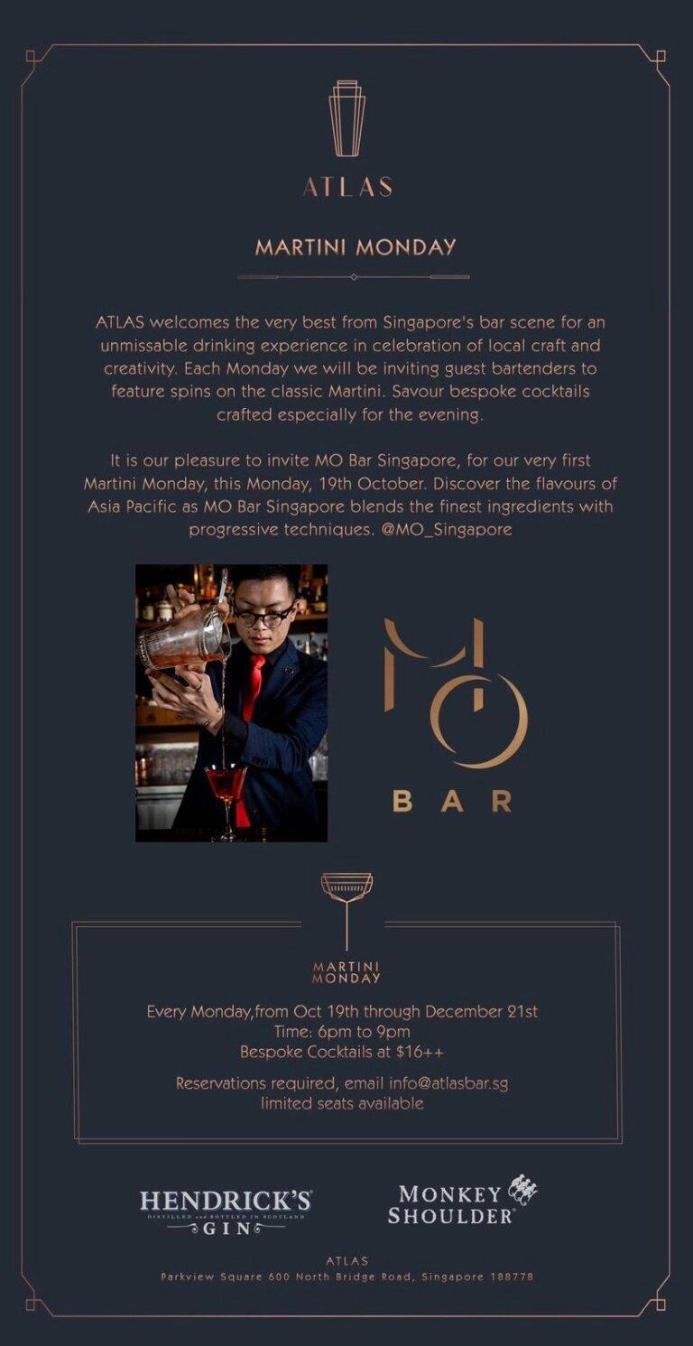Martini Monday at Atlas with Mo Bar team: 19 Oct – 21 Dec 2020 (Singapore)